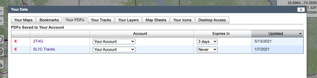 PDFs tab viewyour maps tab view