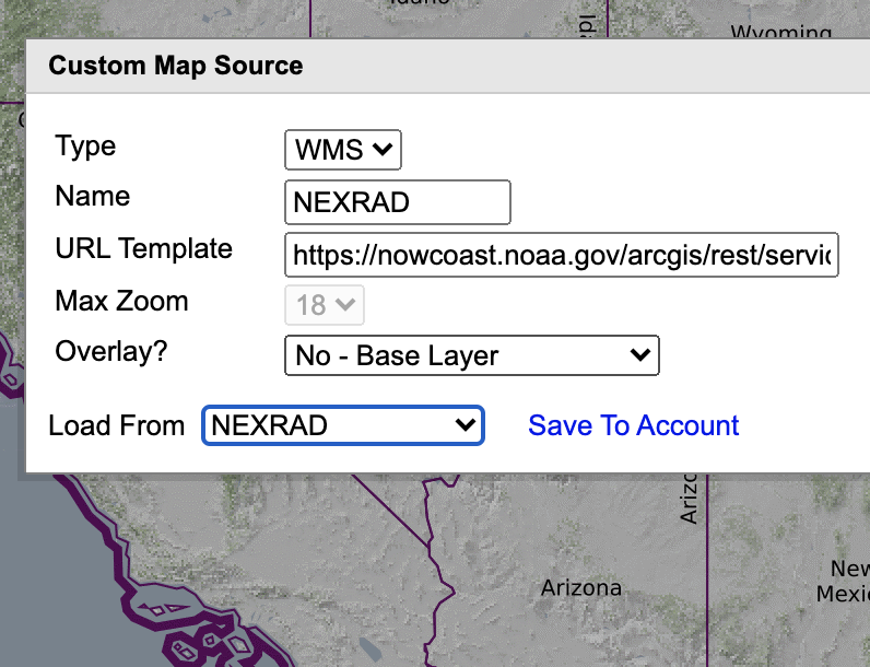 The layer NEXRAD was selected from the previous screen and not the other fields in the edit box are filled with information respresenting that layer