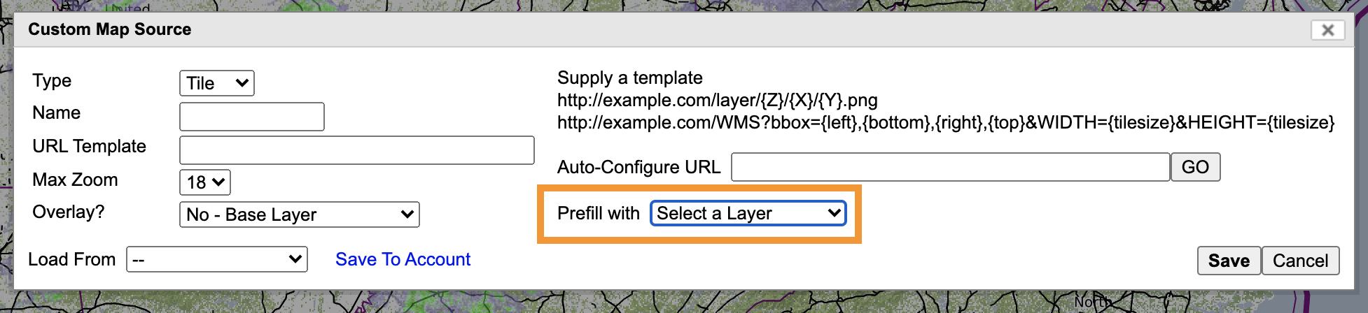 Prefill With dropdown menu is located in the lower-middle section of the box.