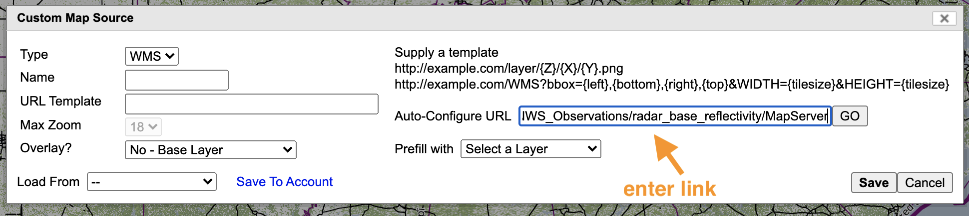 you need a link to enter into the auto-configure box, labeled here with an arrow pointing to it