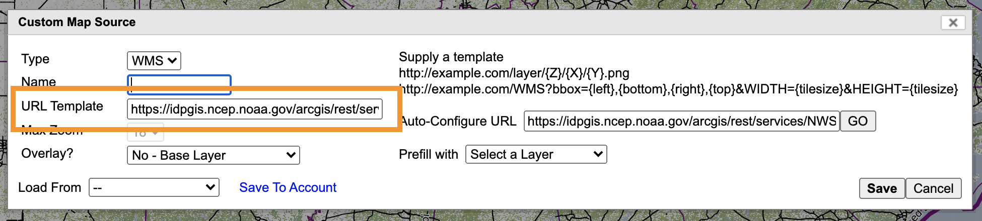in the custom source edit box, the field for URL template has an orange box around it to make it obvious
