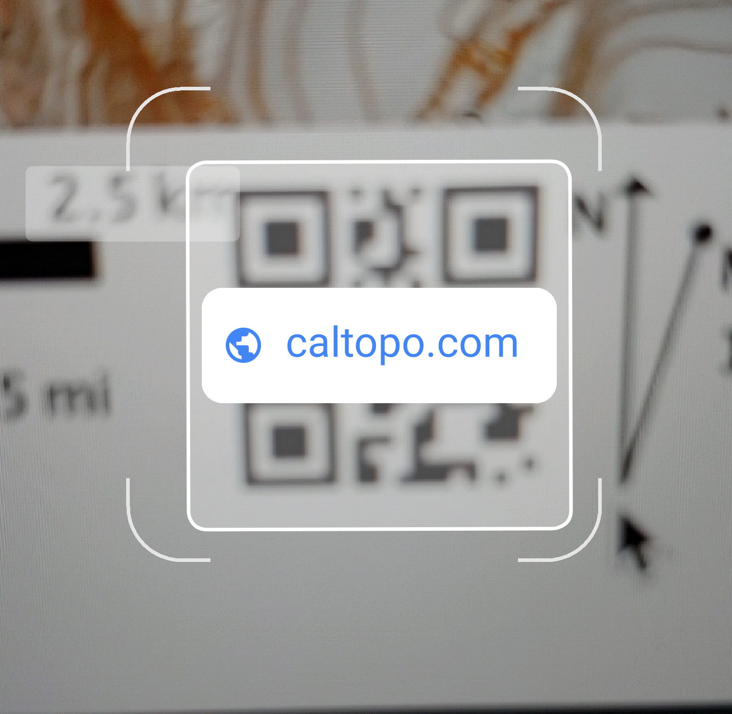 using a mobile device to scan the QR code on a caltopo pdf file. the link goes to caltopo.com